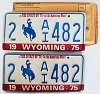 1975 WYOMING Bicentennial graphic license plates pair # 2-AI482