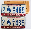 1975 WYOMING Bicentennial graphic license plates pair # 2-AI485