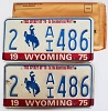 1975 WYOMING Bicentennial graphic license plates pair # 2-AI486