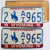 1975 Wyoming Bicentennial pair # AI965, Laramie County