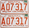 1977 British Columbia Farm Truck pair # A07-317