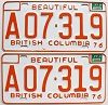 1977 British Columbia Farm Truck pair # A07-319