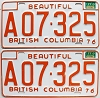 1977 British Columbia Farm Truck pair # A07-325