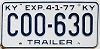 1977 KENTUCKY Trailer license plate # C00-630