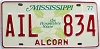 1977 Mississippi Magnolia graphic license plate # AIL-834
