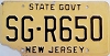 1977 base NEW JERSEY State Government license plate # SG-R650