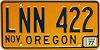 1977 Oregon license license plate # LNN-422