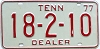 1977 TENNESSEE Dealer license plate # 18-2-10