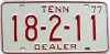 1977 TENNESSEE Dealer license plate # 18-2-11