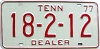 1977 TENNESSEE Dealer license plate # 18-2-12