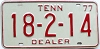 1977 TENNESSEE Dealer license plate # 18-2-14