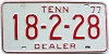 1977 TENNESSEE Dealer license plate # 18-2-28