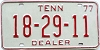 1977 TENNESSEE Dealer license plate # 18-29-11