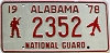1978 ALABAMA National Guard license plate # 2352