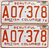 1978 British Columbia Farm Truck pair # A07-378