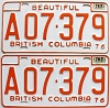 1978 British Columbia Farm Truck pair # A07-379