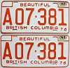 1978 British Columbia Farm Truck pair # A07-381