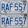 1978 British Columbia license plates pair # RAF-557