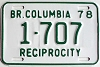 1978 British Columbia Reciprocity # 1707
