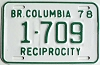 1978 British Columbia Reciprocity # 1709