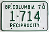 1978 British Columbia Reciprocity # 1714