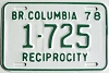 1978 British Columbia Reciprocity # 1725