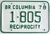 1978 British Columbia Reciprocity # 1805