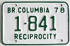 1978 British Columbia Reciprocity # 1841