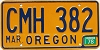 1978 Oregon license license plate # CMH-382