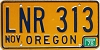 1978 Oregon license license plate # LNR-313