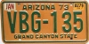 1979 ARIZONA Grand Canyon State license plate # VBG-135