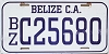 1980 Belize City BELIZE Central America automobile license plate # C-25680
