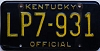 1980 KENTUCKY OFFICIAL license plate # LP7-931