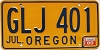 1980 Oregon license license plate # GLJ-401