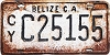 1980 Cayo BELIZE Central America license plate # C25155