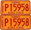 1981 HAWAII FLEET AUTO license plates pair # P15958