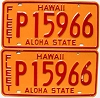 1981 HAWAII FLEET AUTO license plates pair # P15966