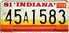 1981 Indiana graphic # 45a1583