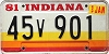 1981 Indiana graphic # 45v901