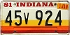 1981 Indiana graphic # 45v924