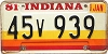 1981 Indiana graphic # 45v939