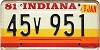 1981 Indiana graphic # 45v951