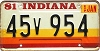 1981 Indiana graphic # 45v954