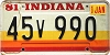 1981 Indiana graphic # 45v990