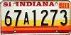 1981 Indiana graphic # 67A1273