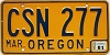 1981 Oregon license license plate # CSN-277