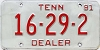 1981 TENNESSEE Dealer license plate # 16-29-2