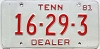 1981 TENNESSEE Dealer license plate # 16-29-3