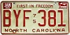 1982 North Carolina First In Freedom # BYF-381