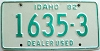 1982 IDAHO Used Car Dealer license plate # 1635-3